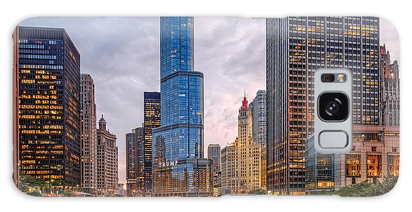 Chicago Riverwalk Equitable Wrigley Building And Trump International Tower And Hotel At Sunset  Galaxy Case