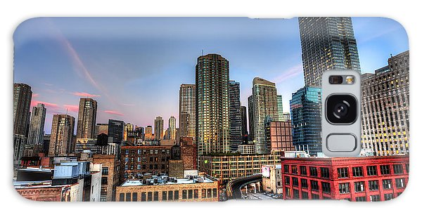 Chicago Rooftop And Sunset Galaxy Case by Shawn Everhart