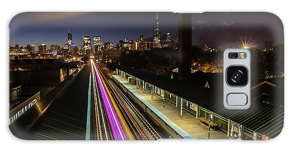 Chicago Skyline And Train Lights Galaxy Case
