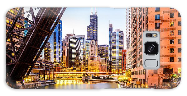 Sears Tower Galaxy Case - Chicago Skyline At Night And Kinzie Bridge by Paul Velgos