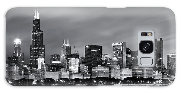 Chicago Art Galaxy Case - Chicago Skyline At Night Black And White  by Adam Romanowicz