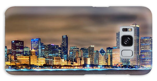 Chicago Skyline At Night Panorama Color 1 To 3 Ratio Galaxy Case