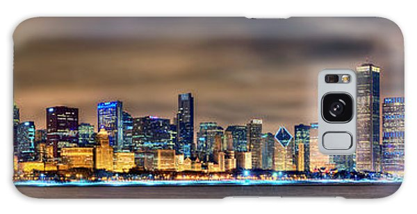 Chicago Skyline At Night Panorama Galaxy Case by Jon Holiday