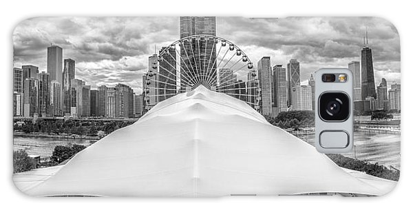 Galaxy Case featuring the photograph Chicago Skyline From Navy Pier Black And White by Adam Romanowicz