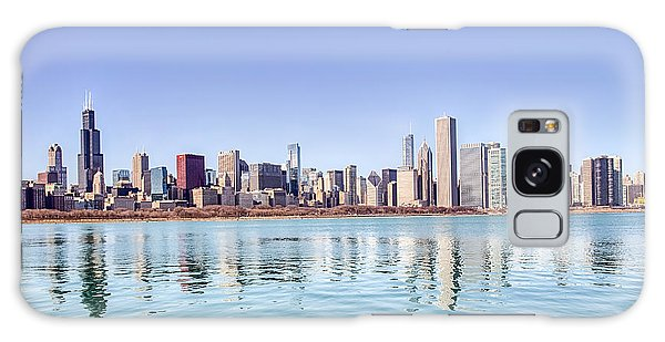 Chicago Skyline Reflecting In Lake Michigan Galaxy Case by Peter Ciro