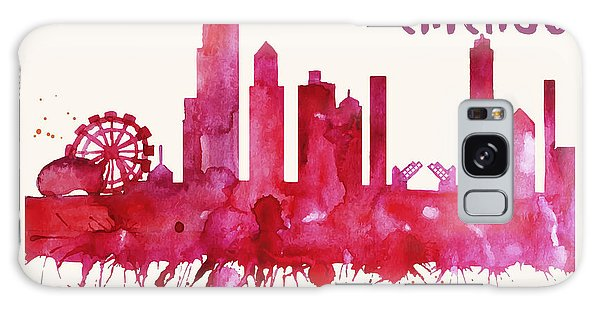 Chicago Skyline Watercolor Poster - Cityscape Painting Artwork Galaxy Case