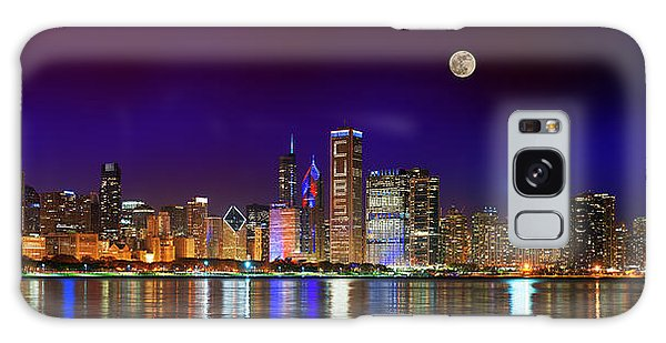 Chicago Skyline With Cubs World Series Lights Night, Moonrise, Lake Michigan, Chicago, Illinois Galaxy Case
