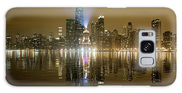 Chicago Skyline With Lindbergh Beacon On Palmolive Building Galaxy Case by Peter Ciro