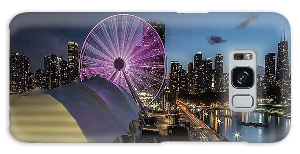 Chicago Skyline With New Ferris Wheel At Dusk Galaxy Case