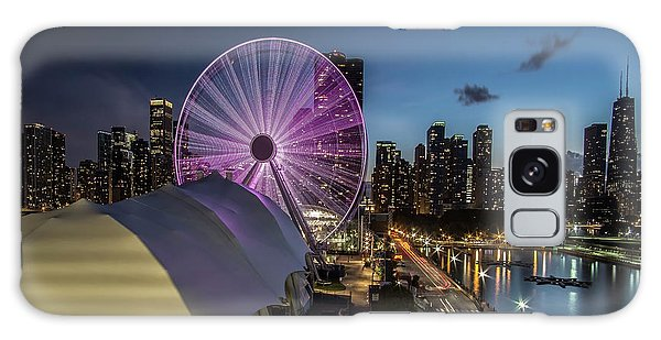 Chicago Skyline With New Ferris Wheel At Dusk Galaxy Case
