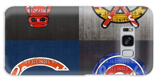 Sport Art Galaxy Case - Chicago Sports Fan Recycled Vintage Illinois License Plate Art Bulls Blackhawks Bears And Cubs by Design Turnpike