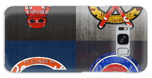 Chicago Sports Fan Recycled Vintage Illinois License Plate Art Bulls Blackhawks Bears And Cubs Galaxy Case