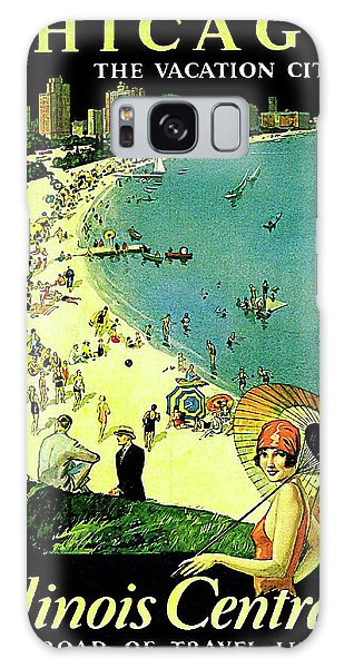 Vintage Chicago Galaxy Case - Chicago, Vacation City, Areal View On The Beach by Long Shot
