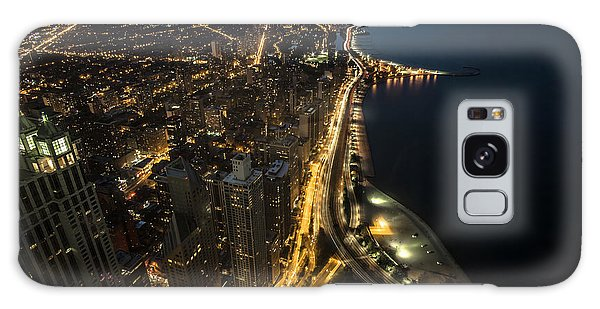 Chicago's North Side From Above At Night  Galaxy Case