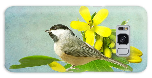 Chickadee Galaxy S8 Case - Chickadee And Flowers by Laura D Young