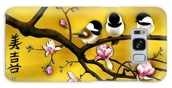 Chickadee On Blooming Magnolia Branch Galaxy Case