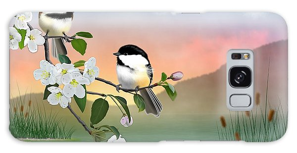Chickadees And Apple Blossoms Galaxy Case