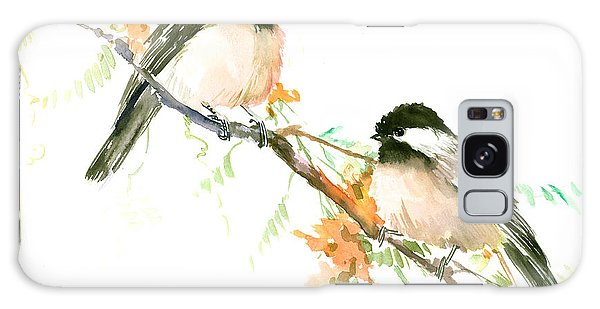 Chickadees And Orange Flowers Galaxy Case