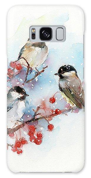 Chickadee Galaxy S8 Case - Chickadees With Berries by John Keeling