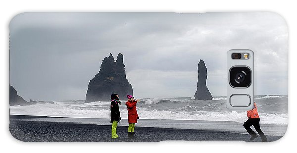 Galaxy Case featuring the photograph China's Tourists In Reynisfjara Black Sand Beach, Iceland by Dubi Roman