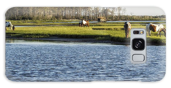 Galaxy Case featuring the photograph Chincoteague Ponies On Assateague Island by Belinda Greb