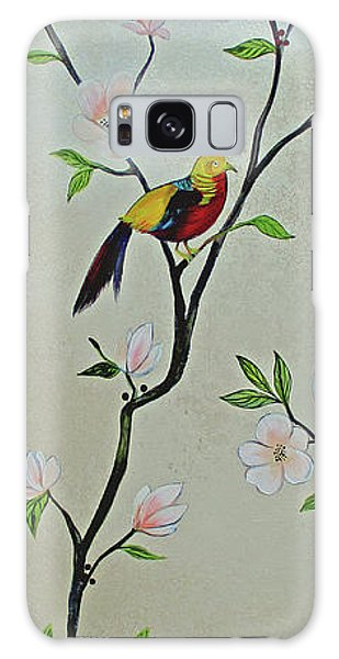 Peacocks Galaxy Case - Chinoiserie - Magnolias And Birds #1 by Shadia Derbyshire