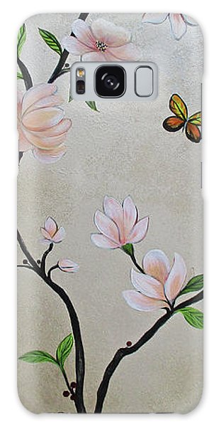 Peacocks Galaxy Case - Chinoiserie - Magnolias And Birds #3 by Shadia Derbyshire