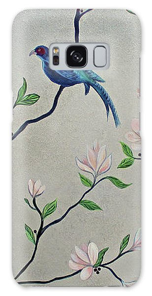 Peacocks Galaxy Case - Chinoiserie - Magnolias And Birds #4 by Shadia Derbyshire