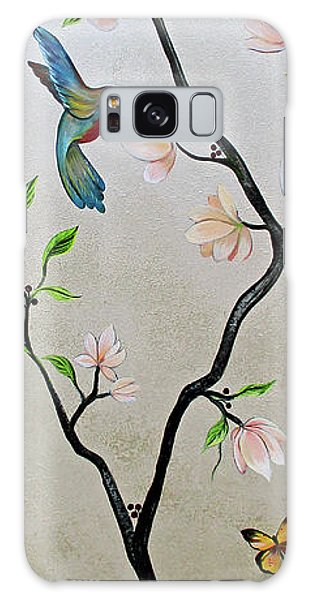 Peacocks Galaxy Case - Chinoiserie - Magnolias And Birds #5 by Shadia Derbyshire