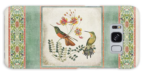Patina Galaxy Case - Chinoiserie Vintage Hummingbirds N Flowers 1 by Audrey Jeanne Roberts