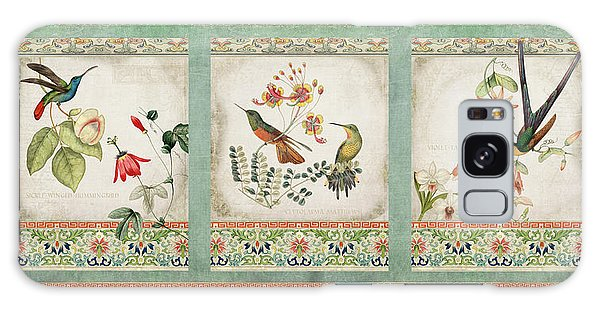 Patina Galaxy Case - Triptych - Chinoiserie Vintage Hummingbirds N Flowers by Audrey Jeanne Roberts