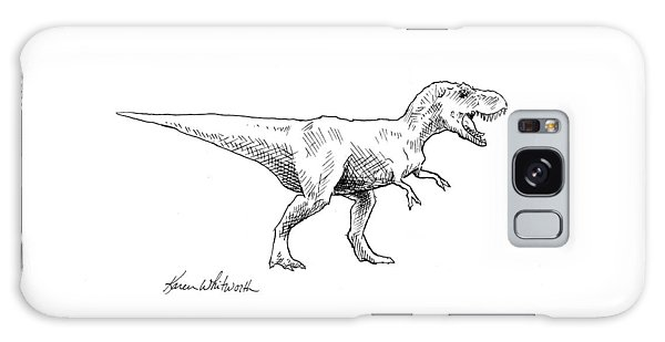 Tyrannosaurus Rex Dinosaur T-rex Ink Drawing Illustration Galaxy Case