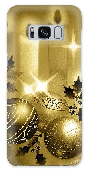 Christmas Balls And Candles Black And Gold Galaxy Case