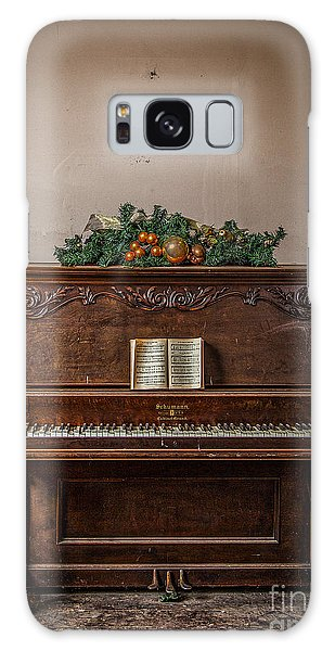 Christmas Card With Piano In Old Church Galaxy Case