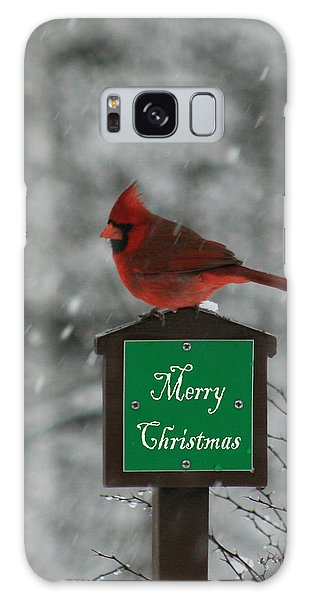 Christmas Cardinal Male Galaxy Case by George Jones
