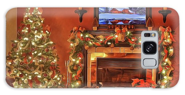 Galaxy Case featuring the painting Christmas Fire by Harry Warrick
