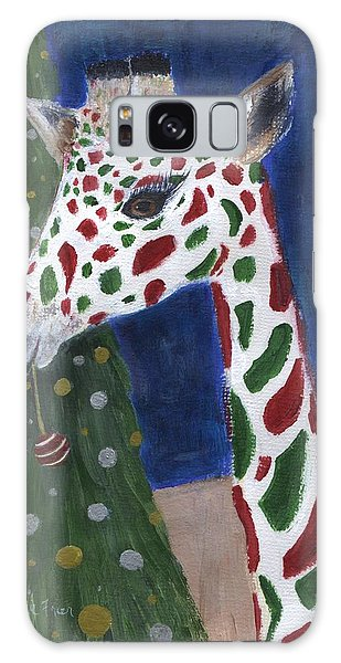 Galaxy Case featuring the painting Christmas Giraffe by Jamie Frier
