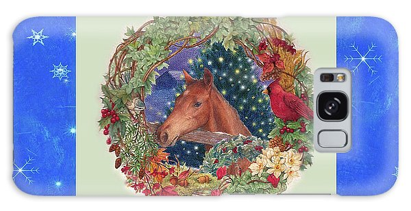 Christmas Horse And Holiday Wreath Galaxy Case