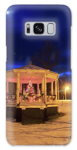 Christmas Moon Over Town Common Galaxy Case by John Burk