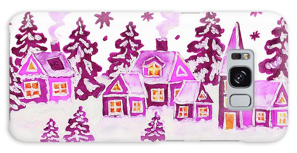 Christmas Picture In Pink Colours Galaxy Case