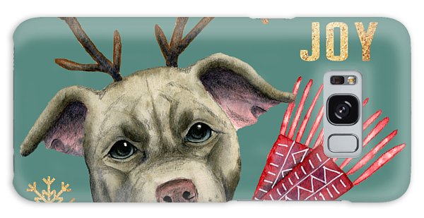 Scarf Galaxy Case - Christmas Reindeer Pit Bull With Faux Gold Snowflakes by NamiBear