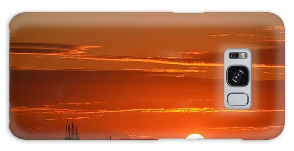 Christopher Columbus Replica Wooden Sailing Ship Nina Sails Off Into The Sunset Galaxy Case by Jeff at JSJ Photography