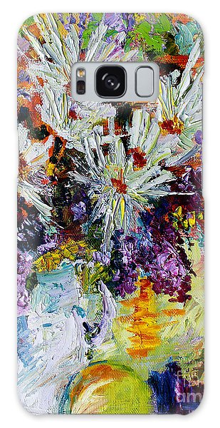 Chrysanthemums And Lilacs Still Life Galaxy Case by Ginette Callaway