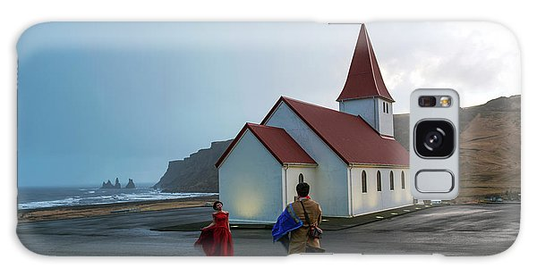 Galaxy Case featuring the photograph Church Above Reynisfjara Black Sand Beach, Iceland by Dubi Roman