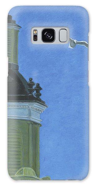 Church Steeple With Seagull Galaxy Case