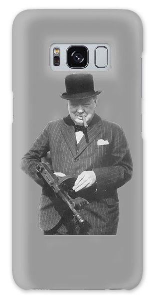 Political Galaxy Case - Churchill Posing With A Tommy Gun by War Is Hell Store