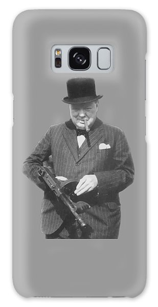 Churchill Posing With A Tommy Gun Galaxy Case by War Is Hell Store