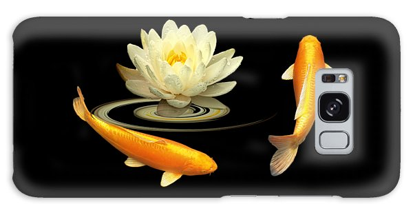 Circle Of Life - Koi Carp With Water Lily Galaxy Case by Gill Billington