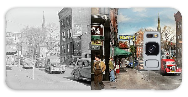 City - Amsterdam Ny - Downtown Amsterdam 1941- Side By Side Galaxy Case by Mike Savad