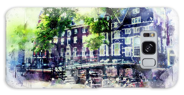 city life in watercolor style - Old Amsterdam  Galaxy Case
